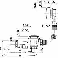 Vidage à câble standard avec siphon à sortie orientable Wirquin