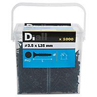 Vis autoperceuses pour plaque de plâtre, noir mat, 3,5x35 mm - 1000pièces