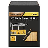 Vis à bois Turbodrive Premium pozidriv zinguée jaune 3.5x40 mm - 500pièces