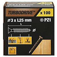 Vis à bois Turbodrive Premium pozidriv zinguée jaune 3x25 mm - 100pièces