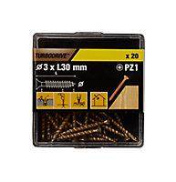 Vis à bois Turbodrive Premium pozidriv zinguée jaune 3x30 mm - 20pièces