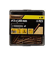 Vis à bois Turbodrive Premium pozidriv zinguée jaune 3x40 mm - 20pièces