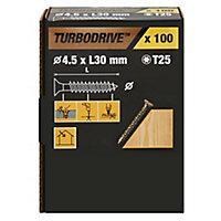 Vis à bois Turbodrive Premium torx zinguée jaune 4.5x30 mm - 100pièces