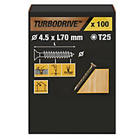 Vis à bois Turbodrive Premium torx zinguée jaune 4.5x70 mm - 100pièces