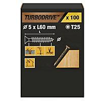 Vis à bois Turbodrive Premium torx zinguée jaune 5x60 mm - 100pièces