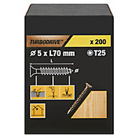 Vis à bois Turbodrive Premium torx zinguée jaune 5x70 mm - 200pièces