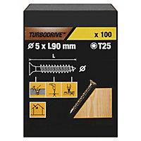 Vis à bois Turbodrive Premium torx zinguée jaune 5x90 mm - 100pièces