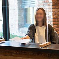 Vitre de protection de bureau et comptoir en verre Schulte 75 x 47,5 cm