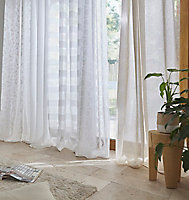 Voilage GoodHome Succusa blanc à points 140 x 260 cm
