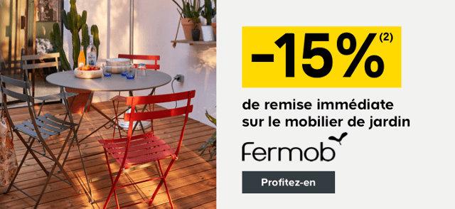 -15% de remise immédiate sur le mobilier de jardin Fermob